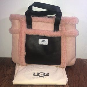 Ugg Pink And Brown Suede/Fur Bag With Dustbag